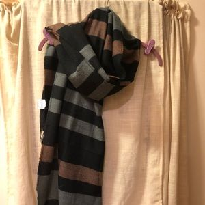 Black/Brown/Gray Striped Oversized Scarf